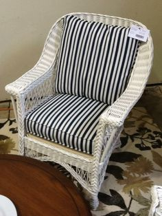 Vintage Wicker Chair – white  mfg. in Kincardine, Ontario newly painted/reupholstered blue/white stripe Location: Oakville Categories: Occasional Chairs $459.45 + tax Item #: 14125
