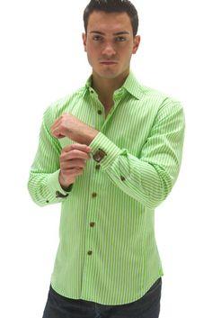 Amazon.com: Green Striped Long Sleeve Men's Dress Shirt 100% Cotton - Bertigo Berko 03: Clothing