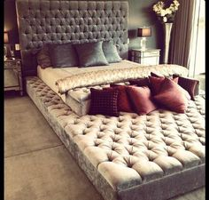"""This is the perfect bed / movie pit couch / conversation lounge! The eternity bed is a mattress that rests on top of a giant futon/couch that extends past the end of the bed creating a """"lounge around"""" area. Dream Bedroom, New Homes, Furniture, Eternity Bed, Bed, Home, Futon Couch, Home Bedroom, Home Decor"""