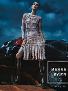 Daga Ziober wears Herve Leger spotlights a punk inspired fringe dress for fall-winter 2016 campaign