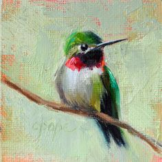 Mini hummingbird oil painting by Cat Pope, contemporary impressionism