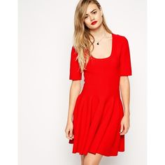 ASOS Skater Dress In Structured Knit (€27) ❤ liked on Polyvore featuring dresses, red, full skirt, textured dress, knit dress, scoop neckline dress and tall dresses