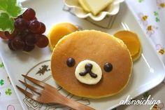 pancake bear (pancakes, ham slices, blueberries, banana slice and chocolate syrup) Food Art For Kids, Cooking With Kids, Fun Cooking, Cute Food, Good Food, Yummy Food, Toddler Meals, Kids Meals, Kreative Snacks