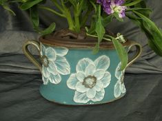 Ceramic Flower Brick with Poppies in Teal Blue by Sally Anne Stahl www.clayshapergallery.com