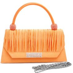 Dasein Pleated Rhinestone Accent Clutch -Orange * Special  product just for you. See it now!