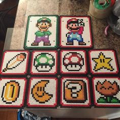 Super Mario coasters perler beads by tyler_plurden