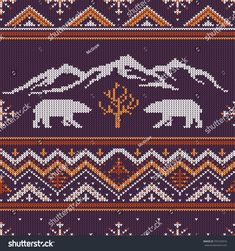 Winter knitted woolen pattern with polar bears on a background of snow-capped mountains Motif Fair Isle, Fair Isle Pattern, Fabric Patterns, Embroidery Patterns, Knitting Patterns, Knitting Tutorials, Knitting Charts, Free Knitting, Sock Knitting