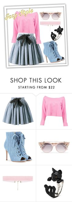 """""""Izzy Style #001"""" by izzierosa on Polyvore featuring Miu Miu, Boohoo, Gianvito Rossi and Jimmy Choo"""