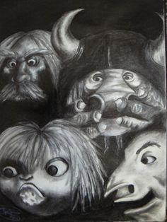 The Goblins of Labyrinth by on DeviantArt Jim Henson Labyrinth, Labyrinth 1986, Labyrinth Movie, Labyrinth Goblins, Labyrinth Tattoo, Goblin Art, Playing Cards Art, Alien Art, The Dark Crystal