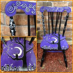 A Halloween chair that I painted to sell at my booth for Halloween! Hand Painted Chairs, Whimsical Painted Furniture, Hand Painted Furniture, Funky Furniture, Paint Furniture, Furniture Makeover, Wooden Chairs, Halloween Art, Halloween Decorations
