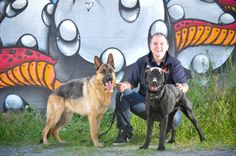 Dogcity in-house trainer Tobias Diamond with Hudson and Harry.