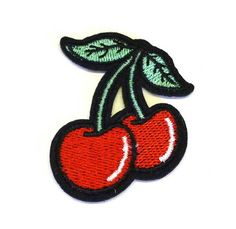 Embroidered Red Cherries With Green Leaves Iron on Patch