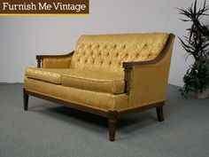 This vintage antique gold sofa reminds me of what may have been in my Grandparents house during the time that my mom got her desk. Old Hollywood Glamour, Hollywood Regency, Vintage Hollywood, Loveseat Sofa, Settee, Couch, Vintage Filters, Vintage Sofa, Home Builders