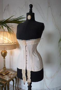 longline demi-ish bust edwardian corset displaying the elegant s-bend silhouette it creates when worn. i love a good corset!!