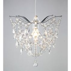 Lamp Shades At Argos: Buy Inspire Tiara Clear Beaded Light Shade - Chrome at Argos.co.uk -,Lighting