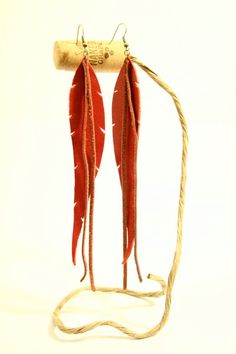 diy / leather feather earrings