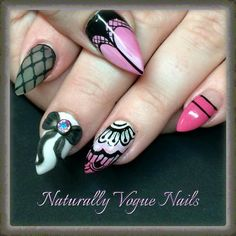 Beautiful nails with hand painted and 3d nail art,  Nail Innovationz gel nail products