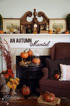 Fall decor ideas, Fall mantel, autumn decor, mantel with pumpkins