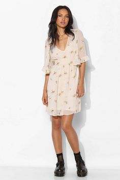 Betsey Johnson Vintage For UO Fiona Floral Chiffon Dress - Urban Outfitters