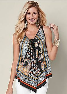 Order a sexy Lace Up Bandana Tank from VENUS. Shop short sleeve tops, tanks, tees, blouses and more at an affordable price today! Colored Skinny Jeans, Boho Fashion, Womens Fashion, Ladies Dress Design, Jeans Style, Lace Up, Tank Tops, My Style, How To Wear
