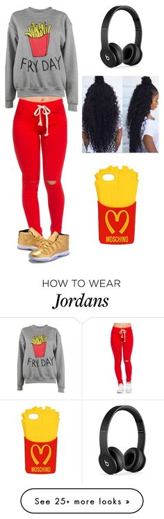 """""""fry day ."""" by qveenkyndall16 on Polyvore featuring Adolescent Clothing, Beats by Dr. Dre and Moschino Lit Outfits, Lazy Day Outfits, Jordan Outfits, Fresh Outfits, Dope Outfits, Stylish Outfits, Teen Girl Fashion, Hipster Fashion, Cute Simple Outfits"""