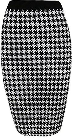 f2302dc51f F4S Womens Plus Size Stretch Dogs Tooth Check Elasticated Waist Back Slit  Bodycon Pencil Midi Skirt