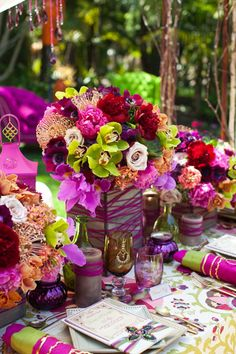 """Wedding florals for """"Moroccan Magic"""" wedding theme at Paradise Point Resort & Spa in San Diego Reception Colorful Centerpieces, Wedding Centerpieces, Wedding Decorations, Table Decorations, Purple Wedding, Floral Wedding, Our Wedding, Wedding Flowers, Autumn Wedding"""