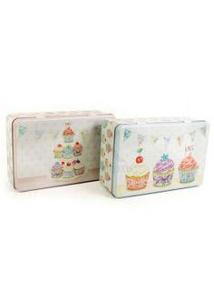 20x13 Teabox Cupcake Tin 2ast @ rosefields.co.uk