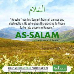 "#Weekly #NamesofAllah (S.W.T): 😇 As #Salam - ""The Ultimate Provider of Peace"" #TheSourceofPeace #Allah #Islam #Peace #Muslims #Umrah #Hajj #Islamic #Umrah2017 #AlHaqTravel #SubhanAllah"