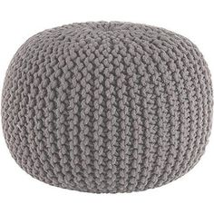 GREY CHUNKY KNIT KNITTED POUFFE FOOT STOOL CUSHION MOROCCAN POD                                                                                                                                                                                 More