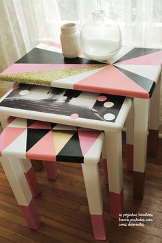cute painted tables....definitely a way to refurbish old tables