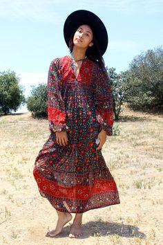 70s Gauzy Ritu Kumar Judith Ann Indian Dress Circa 1970s by Vdingy
