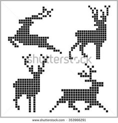 Pixel silhouettes of deers on white background – knitting charts Cross Stitching, Cross Stitch Embroidery, Embroidery Patterns, Cross Stitch Patterns, Hand Embroidery, Knitting Patterns Boys, Knitting Charts, Knitted Christmas Stockings, Christmas Knitting