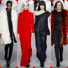 Tom Ford FW '14  Stylist Picks: Such slinky sexy glamour that looks so clean and modern. I love how Tom Ford can give ultra sex appeal yet bare just a slice a of shoulder.   Source: oncewheniwas.com