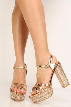 Rose Gold Irisdecent Rhinestone Platform Chunky Heels High Heel Pumps, Pumps Heels, Stiletto Heels, Spring Shoes, Summer Shoes, Rose Gold Heels, Designer Pumps, Prom Shoes, Black Laces