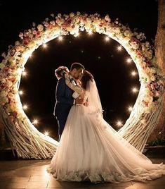 Pinterest White Wedding Arch, Wooden Wedding Arches, Metal Wedding Arch, Pink And White Weddings, Wedding Arch Flowers, Rustic Wedding Flowers, Wedding Stage, Woodland Wedding, Purple Wedding