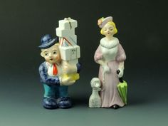 Vintage Salt & Pepper Shakers - Woman w/Poodle & Man w/ Stack of Presents-Japan: