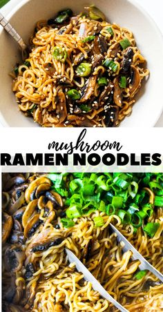 The quickest Mushroom Ramen (or Maggi) Noodles recipe that is so delicious perfectly tossed in a simple Asian style sauce and so many mushrooms. Ramen Recipes, Vegetarian Recipes, Dinner Recipes, Cooking Recipes, Healthy Recipes, Vegetarian Ramen, Asian Noodle Recipes, Easy Asian Recipes, Vegetarian Cooking