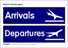 Airport role-play signs (with Spanish) - SparkleBox Airport Theme, Airport Signs, Dramatic Play Area, Dramatic Play Centers, Role Play Situations, Around The World Theme, Role Play Areas, Primary School Teacher, Transportation Theme