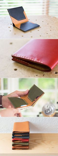 Simple hand-sewn leather wallet