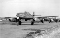 A line of Messerschmitt Me 262s bagged in Lechfeld, Germany, awaits shipment to the U.S.