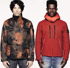 (07a) 43565 Raso Hand Painted Tortoise Shell - (07b) 42544 Saia Doppia Faccia - 6115 Stone Island 2014-2015 Fall Autumn Winter Mens Preview Looks - Outerwear Coat Down Jacket Parka Thermo Sensitive Textile Grunge Cargo Pockets Outdoorsman Snow Ice Denim Jeans Tortoise Shell Sheepskin Wool