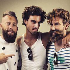 Juanmi Marquez (Photographer), Hans Gurbig (model), Alejandro Gil (model) waiting for a shooting. beard model bearded barba gentleman