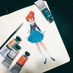 """""""Day 4 at home with the fever virus decided to do another gouache paint practice. I just can't wait to get well! #gouache #paint #traditional #2d…"""""""