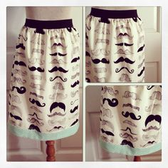 Girls/Ladies Mustache Skirt with Aqua Chevron Band on Etsy, $34.00