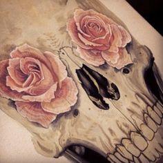 roses and skull by duuuudeeee.deviantart.com on @deviantART