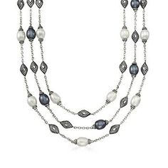 "Ross-Simons - Andrea Candela 8-9mm Black and White Cultured Pearl Necklace in Sterling Silver. 17"" - #840331"