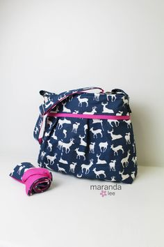 Stella Diaper Bag Set with Changing Mat Large- Navy Deer with Hot Pink- Nappy Bag Baby Gear with Elastic Pockets Attaches to Stroller by marandalee on Etsy