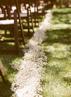 baby's breath wedding aisle decor via Michael & Anna Costa Photography