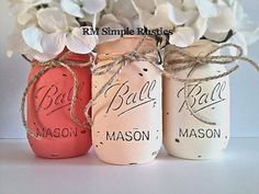 Peachy Pink Ombre Mason Jars, Girls Nursery Decor, home decor, housewares, pink, rustic home decor, bathroom decor, country nursery
